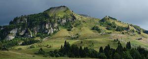 Превью обои холмы, деревья, долина, пейзаж, природа