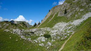 Превью обои холмы, деревья, пейзаж, природа, облака