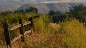 Превью обои холмы, деревья, забор, природа, пейзаж