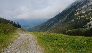 Превью обои холмы, дорожка, деревья, природа, пейзаж