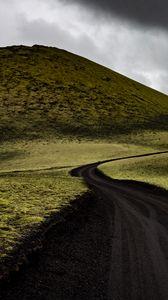 Превью обои холмы, поле, дорога, изгибы, пейзаж