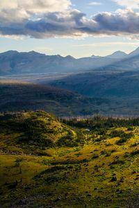 Превью обои холмы, рельеф, лучи, солнце, пейзаж, природа
