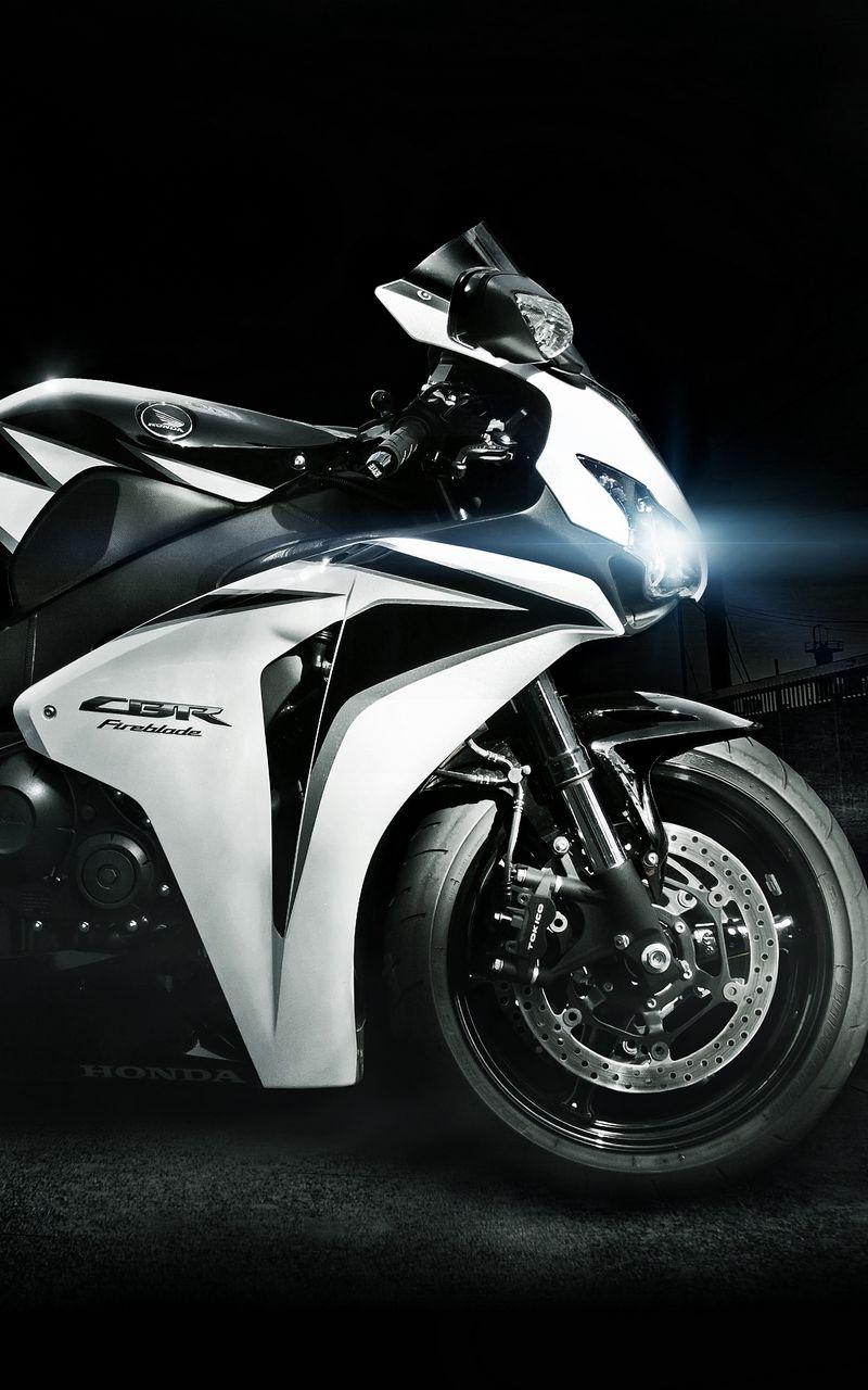 800x1280 Обои honda, cbr, fireblade, белый, чёрный, фары