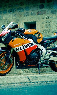 240x400 Обои honda, cbr, fireblade, repsol, черный