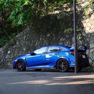 Превью обои honda civic type-r, honda, автомобиль, синий, вид сбоку