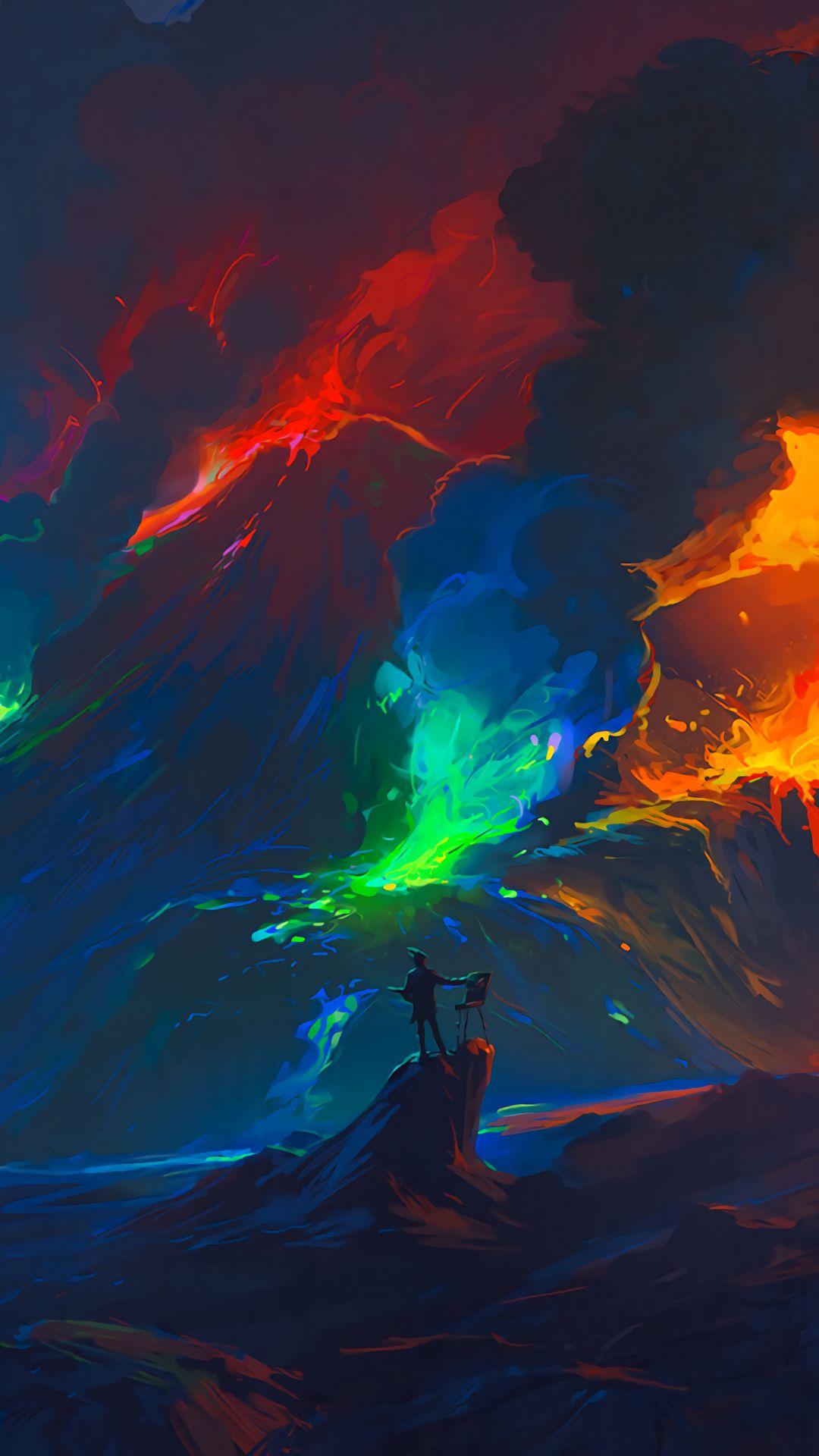 1080x1920 Обои художник, волны, красочный, арт, фантазия