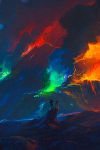 Превью обои художник, волны, красочный, арт, фантазия