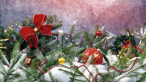 Превью обои хвоя, снег, украшения, праздник, атрибуты
