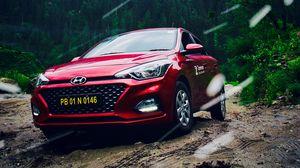 Превью обои hyundai, автомобиль, вид спереди, красный