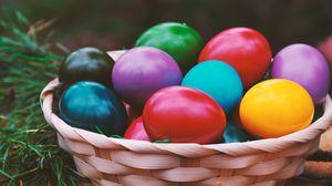 Превью обои пасха, яйца, разноцветный, корзинка