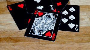 Превью обои игральные карты, карты, королева, черный