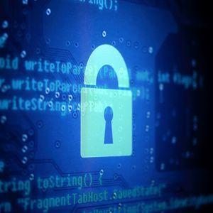 Превью обои интерфейс, код, блокировка, замок, хакер, синий, темный