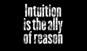 Превью обои интуиция, фраза, слова, текст, черно-белый