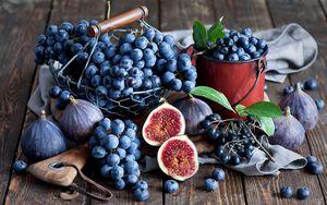 Превью обои инжир, виноград, черника