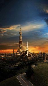 Превью обои ислам, мечеть, город, закат
