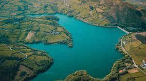 Превью обои испания, горы, лес, деревья, река, водохранилище