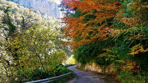 Превью обои испания, арагон, дорога, скала, асфальт, изгибы, поворот, растительность, ограждение