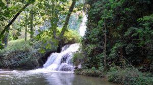 Превью обои испания, арагон нуэвалос, водопад, лес, деревья