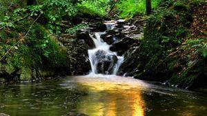 Превью обои испания, арагон, торла, водопад, лес, деревья, камни, свет, отражение