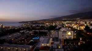 Превью обои испания, тенерифе, ночь, панорама, здания