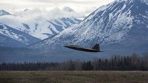 Превью обои истребитель, самолет, взлет, горы