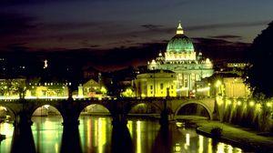 Превью обои италия, рим, базилика, мост ангела, площадь святого петра, ночь, огни, отражение, ватикан