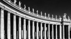 Превью обои италия, рим, площадь святого петра, чб