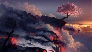 Превью обои извержение, лава, вулкан, сакура, дерево