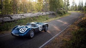 Превью обои jaguar, c-type, 1951, спорткар, вид сбоку