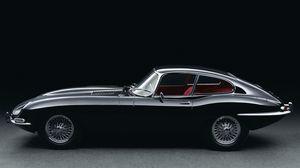 Превью обои jaguar, e-type, черный, ретро, вид сбоку, 1961