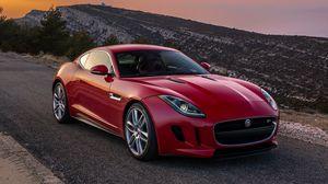 Превью обои jaguar, f-type, красный, вид сбоку, coupe