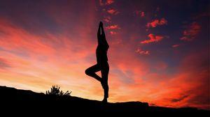 Превью обои йога, силуэт, закат, человек