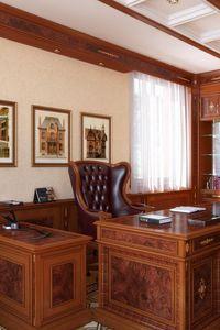 Превью обои кабинет, стол, стулья, люстра, потолок