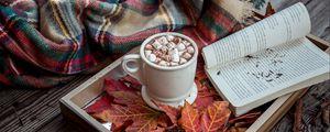 Превью обои какао, зефир, плед, книга, осень