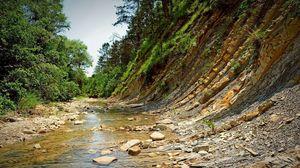 Превью обои камни, берег, река, горы
