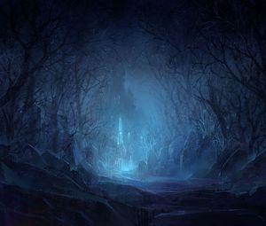 Превью обои камни, лес, мрак, свет, замок