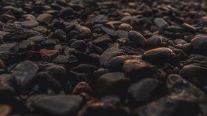 Превью обои камни, пляж, темный, сумерки
