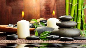 Превью обои камни, свечи, ароматерапия, спа, вода, бамбук, массаж