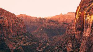 Превью обои каньон, деревья, дорога, природа, пейзаж