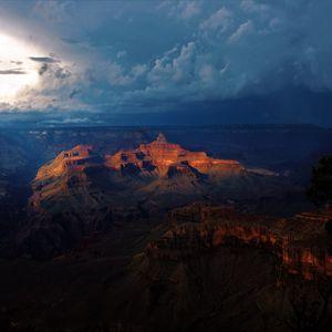 Превью обои каньон, гранд каньон, облака, пасмурно, ночь, большой каньон