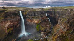 Превью обои каньон, водопад, обрыв