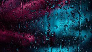 Превью обои капли, стекло, дождь, влага, окно, поверхность, темный