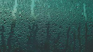 Превью обои капли, влага, дождь, стекло, поверхность, жидкость