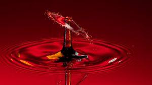 Превью обои капля, всплеск, макро, красный, жидкость