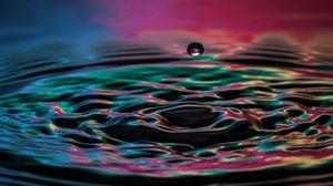 Превью обои капля, жидкость, брызги, цвет, всплеск