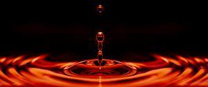 Превью обои капля, жидкость, крупным планом, красный