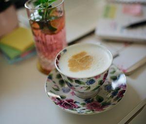 Превью обои капучино, пенка, кофе, напиток, чашка