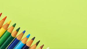 Превью обои карандаш, разноцветный, зеленый, фон
