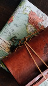 Превью обои карта, блокнот, путешествие