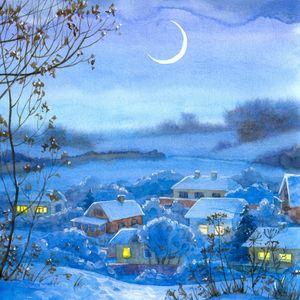 Превью обои картина, зима, село, дома, ночь, месяц, снег
